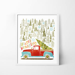 Winter Wonderland Pick Up Truck with Tree 8x10 Christmas / Holiday art print
