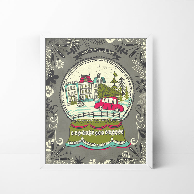 Winter Wonderland Snow Globe 8x10 Christmas / Holiday art print
