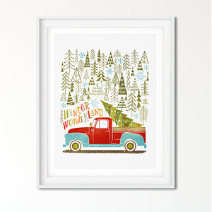 Winter Wonderland Tree Farm Pick Up Truck Art Poster Print