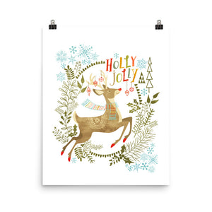 Holly Jolly Christmas Deer Art Poster Print