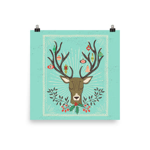 Christmas Deer Antlers and Ornaments Art Poster Print