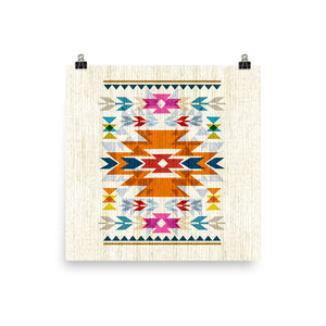 Bright, Navajo Inspired Pattern Art Poster Print