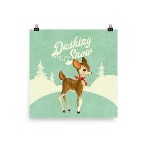 Dashing Through the Snow Vintage Reindeer Art Poster Print