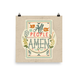 All the People Said Amen Art Poster Print