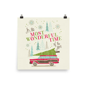 Most Wonderful Time of the Year Car Art Poster Print