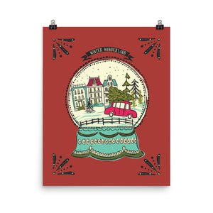 Winter Wonderland snow globe Art Poster Print