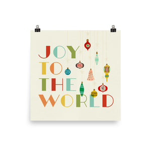 Joy to the World Christmas Ornament Art Poster Print