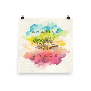 Amazing Grace Watercolor Art Poster Print