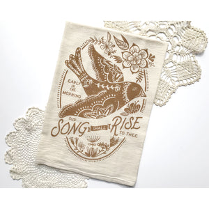 Our Song Shall Rise Bird Hymn Tea Towel
