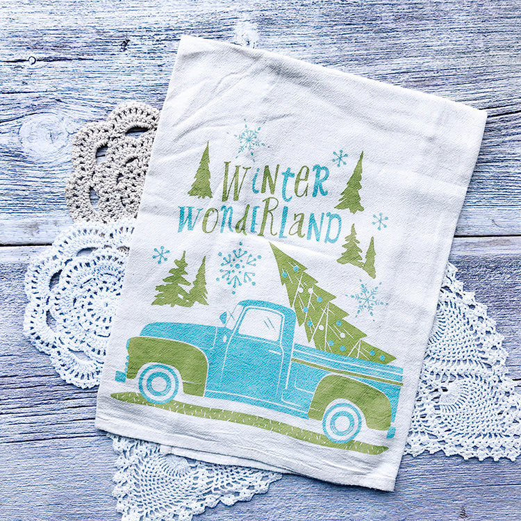 Winter Wonderland Pickup Truck Christmas/Holiday Tea Towel