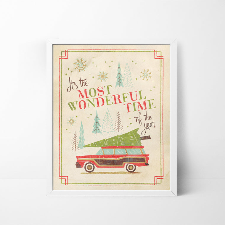 It's the Most Wonderful Time of the Year Woody Car with Tree 8x10 Christmas / Holiday art print