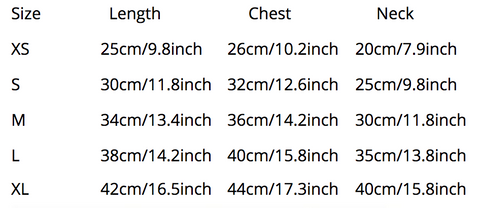 Ruffled Dress Size Chart