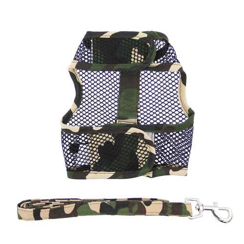 Cool Mesh Dog Harness - Green Camouflage Harnesses - DogTrunk
