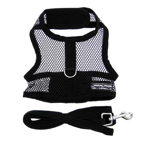 Cool Mesh Dog Harness - Solid Black Harnesses - DogTrunk