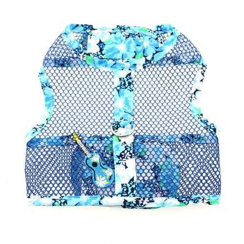 Ukulele Blue Hibiscus Cool Mesh Dog Harness with Matching Leash by Doggie Design Harnesses - DogTrunk