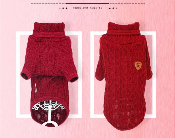Dog knit sweater turtleneck top in 3 colors Sweaters - DogTrunk