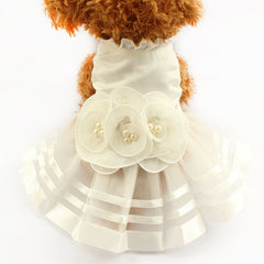 Fancy Dog Dress with Pearl Flower Accents