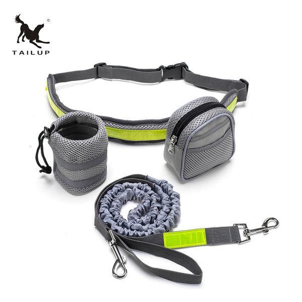 TAILUP Dog Hands Free Leash Walking Running Jogging Puppy Dog Leashes Lead Collars Adjustable Dog Lead Leash Reflective Bag  - DogTrunk