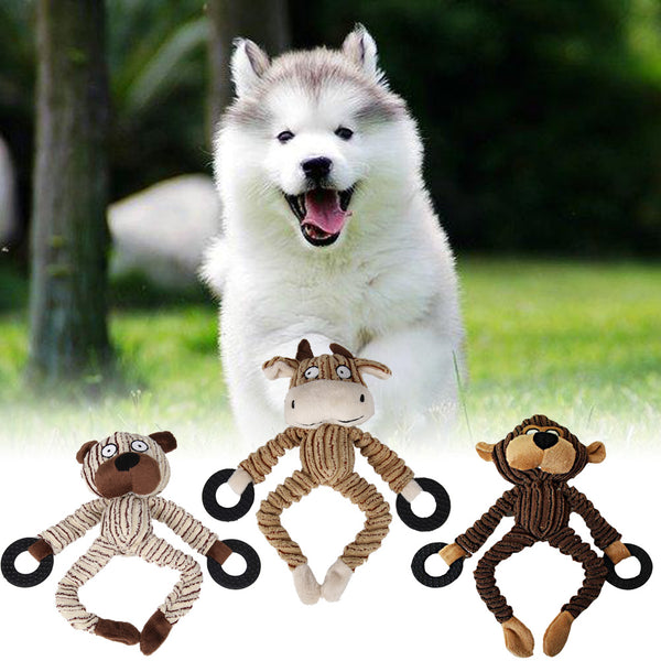 Squeaky chew toys in cow/bear shape plush toy with sound Rope Toys - DogTrunk