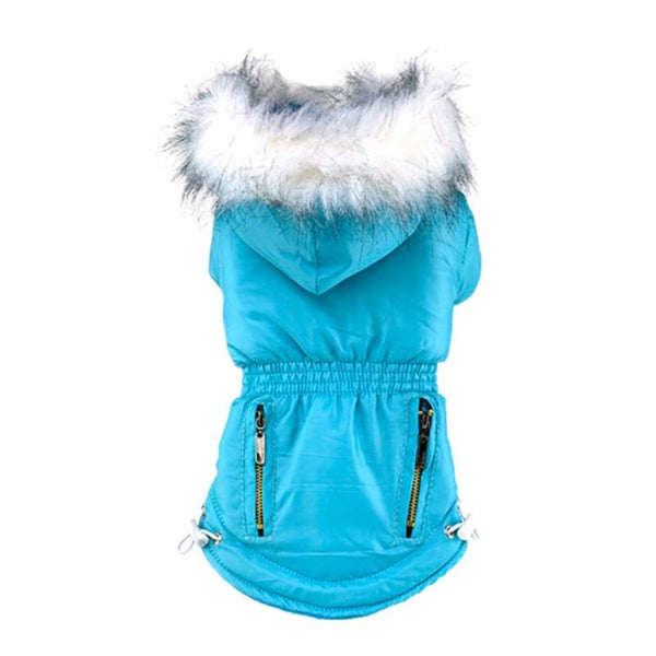 Uptown Dog Jacket with Furry Hood Coats - DogTrunk