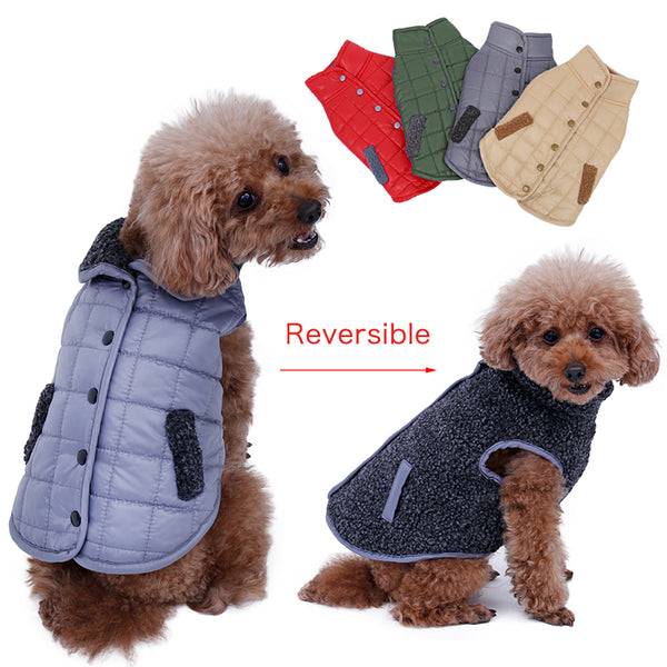 Warm Dog Vest with Collar- Reversible Coats - DogTrunk