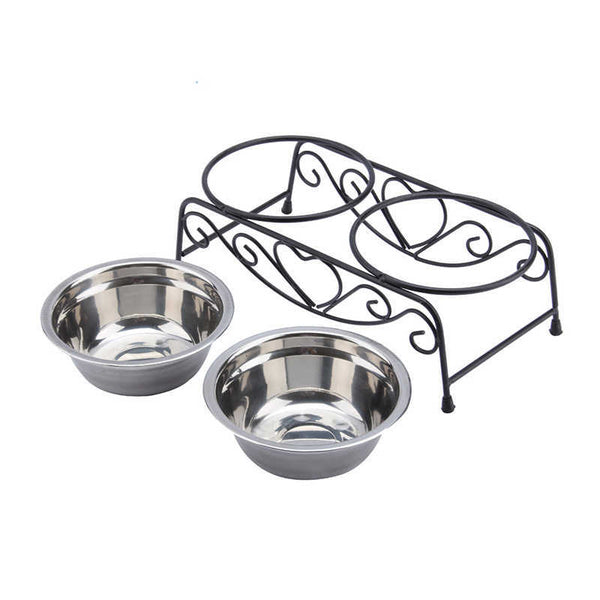 Double Stainless Steel Dog Bowls and Stand Retro Iron Bowls - DogTrunk