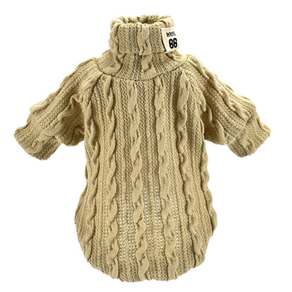 Turtleneck Cable Knit Dog Sweater Sweaters - DogTrunk