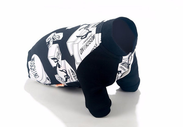 Moschino inspired dog printed summer top Sweaters - DogTrunk
