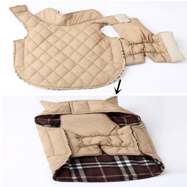 Reversible Plaid Dog Jacket Coats - DogTrunk