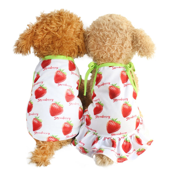 Strawberry Print Sundress or Vest for Dogs  - DogTrunk