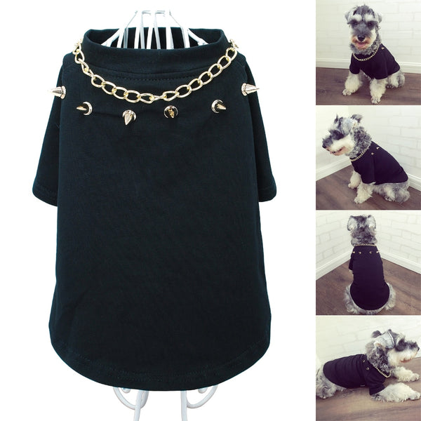 BIker Style Pullover T-Shirt with Studs and Chain  - DogTrunk