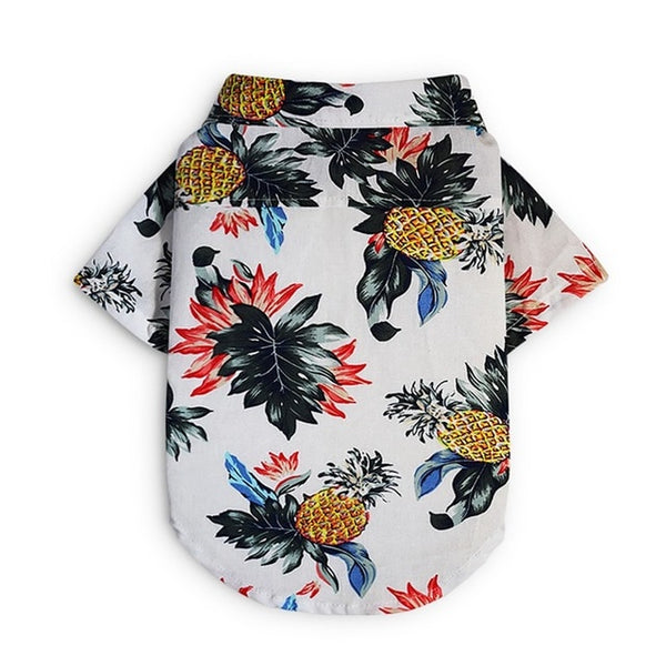 Dog Printed Shirt Summer Clothes Dog Hawaiian Style Short Clothing Thin Sleeves Costume Cute Pet Clothes With Pineapple Pattern  - DogTrunk