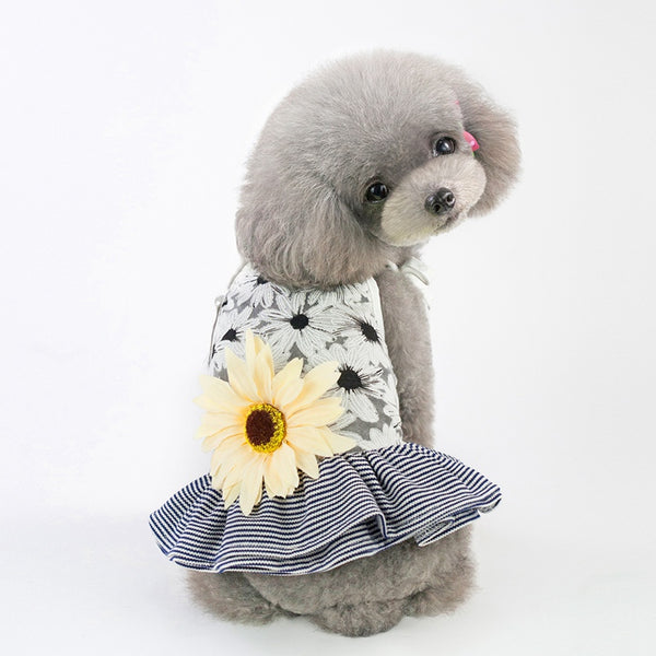 Sunflower and Stripes Summer Dog Dress  - DogTrunk