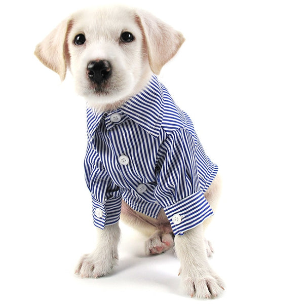 WANGUPET 2017 New stripe Dog Shirt Brand Leisure Clothing Fashion Social Casual Pet Shirt Slim Fit Long-Sleeve Dog Shirts  - DogTrunk