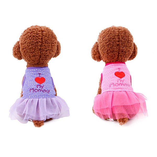 I Love My Mommy Toile Dog Dress  - DogTrunk