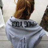 Thug Yoga Sweatshirt Hoodie Unisex, Heather grey, back view