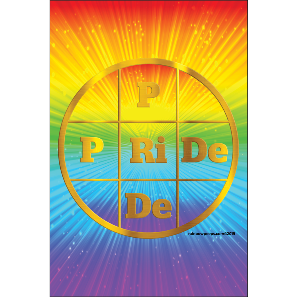 PRIDE Exclusive Original Design Gold Letters On Rainbow Colors Background Poster