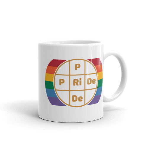 PRIDE Exclusive Design Gold Letters on White Cup with Rainbow Colors on Sides