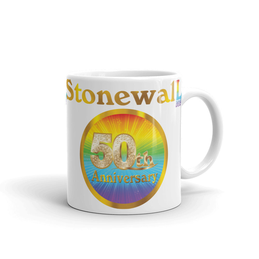 STONEWALL 50TH ANNIVERSARY Original Rainbow Peeps Design on White Mug