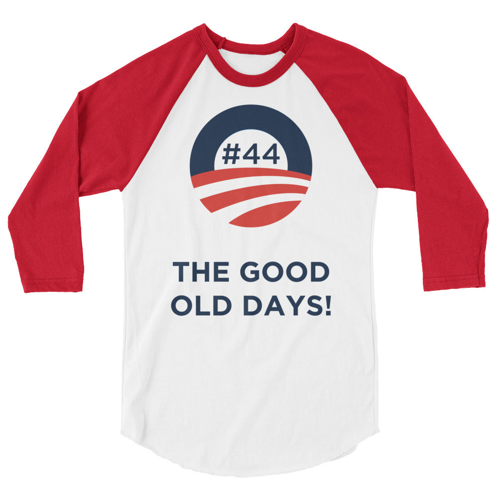 #44 THE GOOD OLD DAYS White & Blue 3/4 Raglan Sleeve