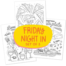 Friday Night in_SET OF 3 Coloring Pages (50% PROFITS GO TO SUPPORT WHO)