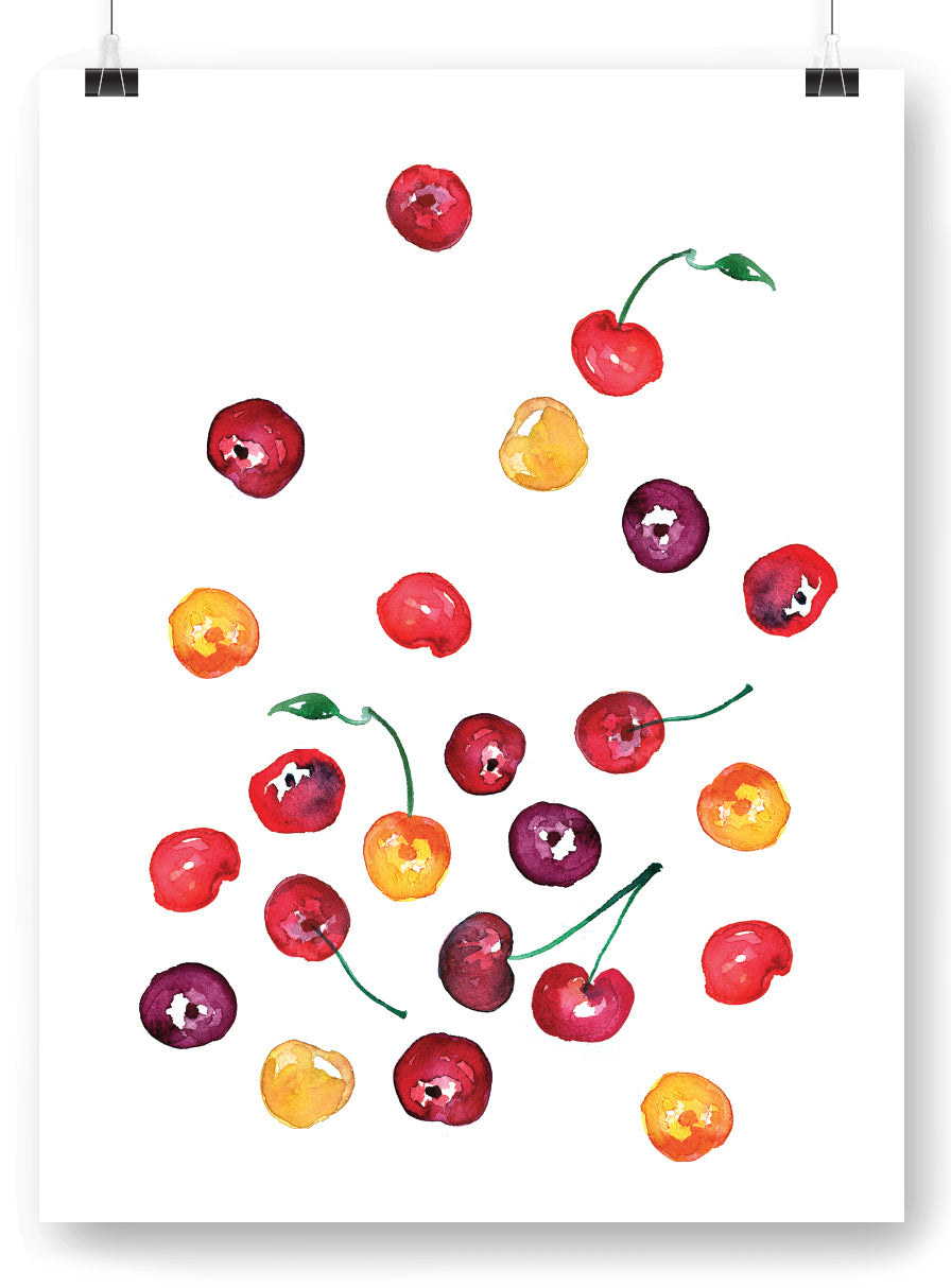 Cherries Watercolor Art Print