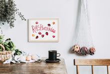 Raspberries with type Watercolor Art Print