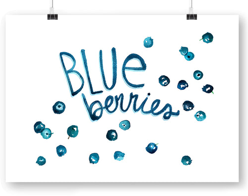Blueberries with type Watercolor Art Print