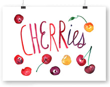 Cherries with type Watercolor Art Print