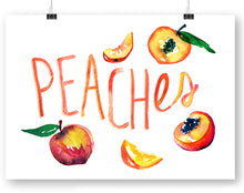 Peaches with type Watercolor Art Print