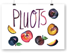 Pluots with type Watercolor Art Print