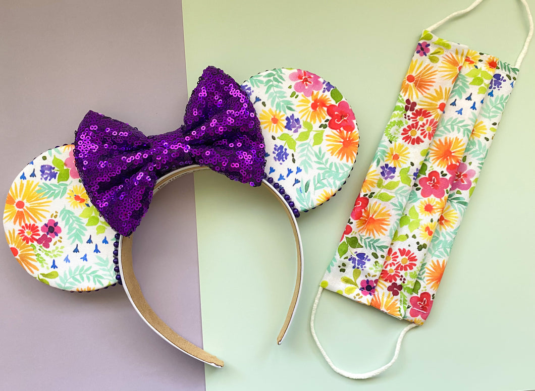 Flower & Garden Ears (Purple Floral)