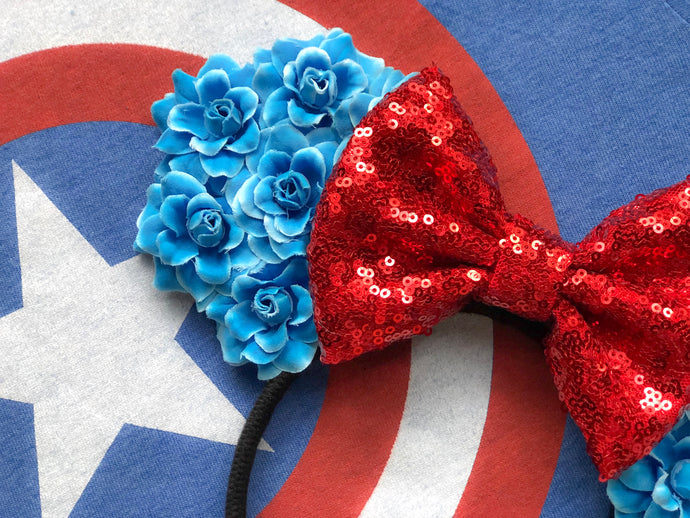 Captain America Floral Ears
