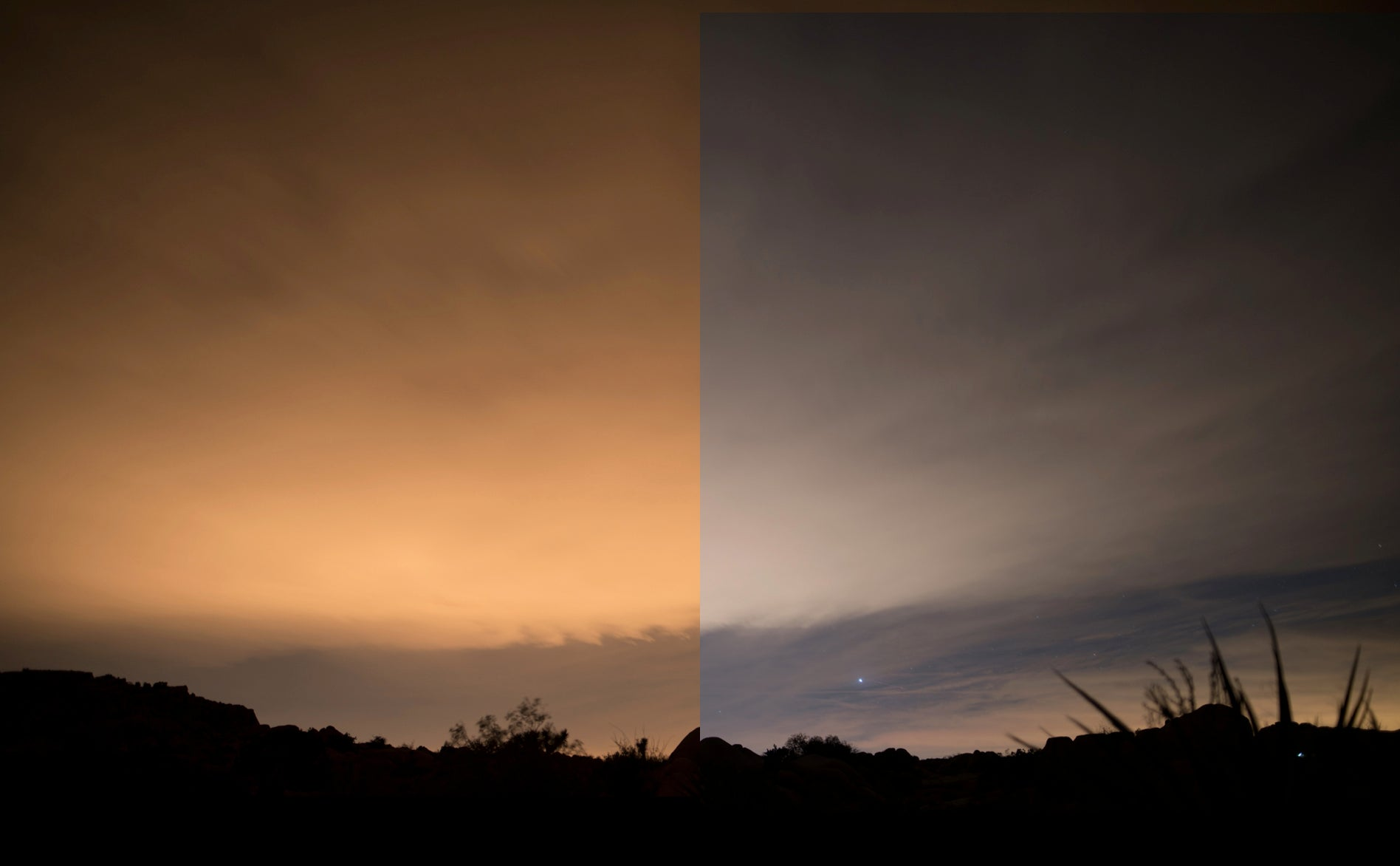 Night Sky Filter before and after